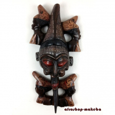 Afrikanische Teufelsmaske aus Ghana. Afrikanische Holzmaske. Moderne Afrika Maske.