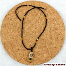 Glasperlen-Ketten mit Kauri-Anhänger, Reggae-Farben