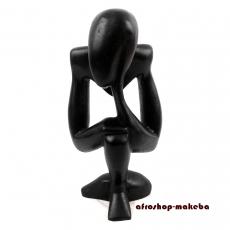Afrikanische Figur aus Mahagoni. Denker, abstrakt, schwarz