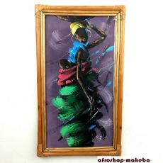 Modernes Afrikanisches Gemälde mit Bambusrahmen. Afrikanerin mit Baby.