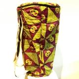Original Ghana Djembe Bag, Djembe Tasche, Bunte Trommel Tasche, grün/lila gemustert