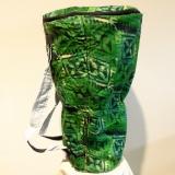 Djembe Bag, Djembe Tasche, Bunte Trommel Tasche, grün gemustert, original aus Ghana