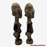Baule-Figur, Baule-Paar, Männliche Ahnenfigur blolo bian und Weibliche Ahnenfigur blolo bla, Elfenbeinküste