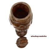 Traditionelle authentische Senufo Deckeldose. Großes Afrika Wahrsager Gefäß. Dose, Behälter