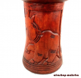 Djembe-Korpus, Nashornmotiv aus Odum - Holz (african teak), groß