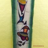 Handgemaltes Bild Afrikanische Bananenverkäuferin. Modernes Gemälde auf Leinenstoff.
