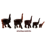 Elefantenfamilie aus Afrika, 5 Elefanten aus Ebenholz, Rüssel nach oben