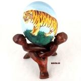 Straußenei, halbseitig bemalt auf 3 head unit, Tiger-Motiv