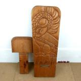 Steckstuhl,Sankofa-Motiv, Ghana, Westafrika, Wickinger Stuhl, Sese- Holz (falsche Gummibaum), klein