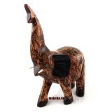 Afrikanischer Elefant aus Sese-Holz, Rüssel nach oben