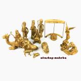 Weihnachtskrippe, Krippe aus Gelbguss, Bronzeguss aus Ghana.
