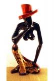 Denkende Frau, abstrakt, moderne afrikanische Kunst