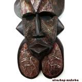 Gesichtsmaske der Ashanti mit Tiersymbolen aus Ghana. Moderne Afrika Holzmaske