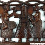 Wandrelief Königshof aus Odum Holz, geschnitztes Wandbild, Holzwandrelief