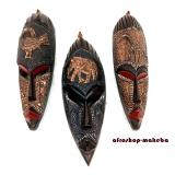 3 kleine Afrikanische Gesichtsmasken aus Ghana. Afrika Masken Set.