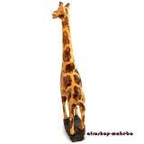 Giraffe auf Sockel, small, Afrikanische Tierfigur aus Sese-Holz