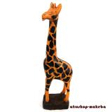 Giraffe auf Sockel, Afrikanische Tierfigur aus Sese-Holz,Ghana