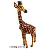 Giraffe, Afrikanische Tierfigur aus Sese-Holz, Kenia