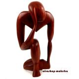 Afrikanische Figur aus Mahagoni. Denker, abstrakt, braun
