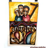 Frau mit Mörser. Afrikanisches Gemälde auf Leinwand.